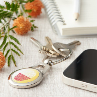 Polish touch fingerprint flag Silver-Colored oval keychain
