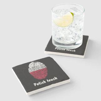 Polish touch fingerprint flag stone coaster