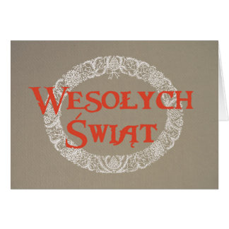 Polish White Christmas Wreath Red on Burlap Card