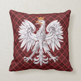 Polish White Eagle Red Plaid  MoJo Pillow