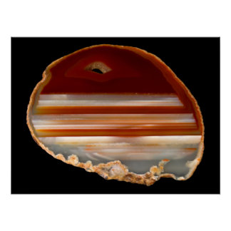 Polished Agate Slice Photo on Black Poster