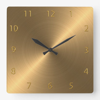 Polished Brushed Metal Square Wall Clock