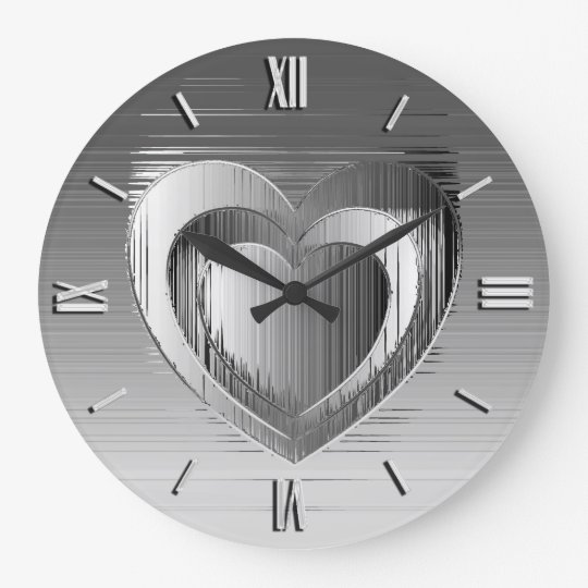 Polished chrome heart wallclock