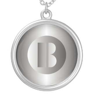 "Polished Steel ""B"" Silver Plated Necklace"