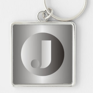 "Polished Steel ""J"" Silver-Colored Square Keychain"