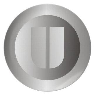 "Polished Steel ""U"" Party Plates"