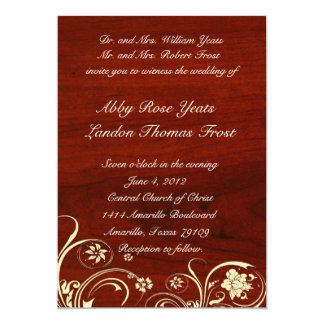 Polished Wood Old Lace Wedding Invitation