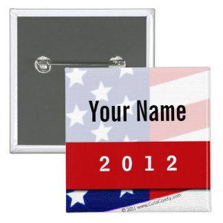 Political Campaign, CYO Stars and Stripes 2 Inch Square Button