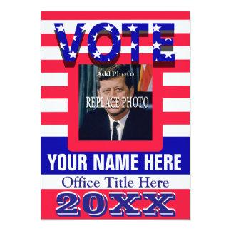 """Political Campaign Vote 5"""" X 7"""" Invitation Card"""