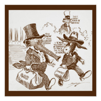 Political Cartoon USA  c. 1920 Elephant &  Donkey Poster