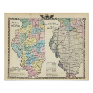 Political map of Illinois Poster