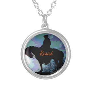 "Political 'RESIST"" George Washington On Horse Silver Plated Necklace"