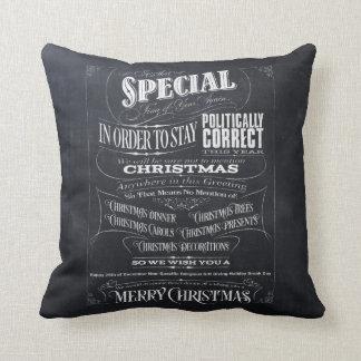Politically Correct Chalk Christmas Pillow (We)