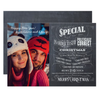 Politically Correct Incorrect Chalkboard Christmas Card