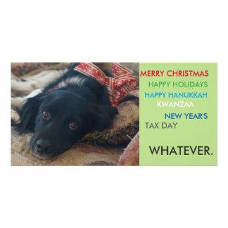 Politically correct xmas holiday christmas card customized photo card