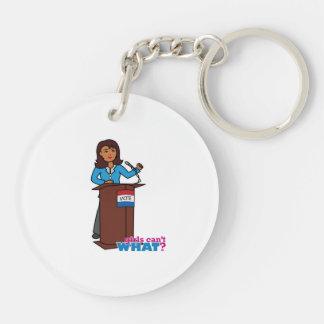 Politician Girl Double-Sided Round Acrylic Keychain