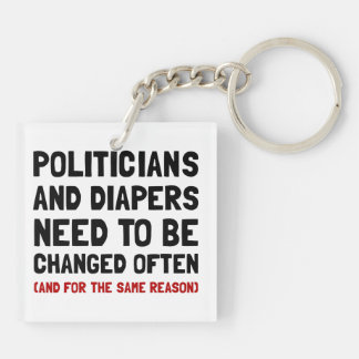 Politicians Diapers Double-Sided Square Acrylic Keychain