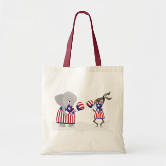 Politics left and right fight design tote bag