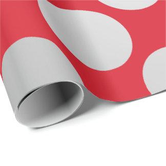 Polka Big Dots Silver Gray Bright Vivid Red Wrapping Paper