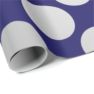 Polka Big Dots Silver Gray Graphite Blue Navy Wrapping Paper