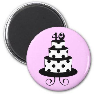 Polka Dot 40th Birthday Anniversary Cake 2 Inch Round Magnet