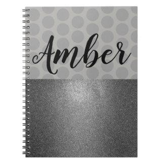 Polka Dot and Glitter Monogram Notebook