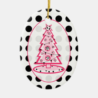 Polka Dot And Pink Christmas Tree Ornament