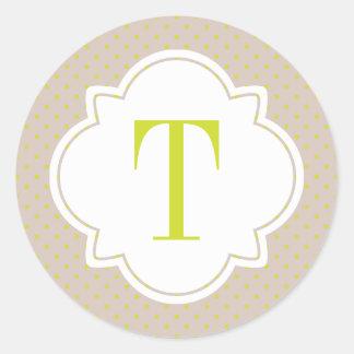 Polka Dot and Quatrefoil Single Letter Monogram Classic Round Sticker