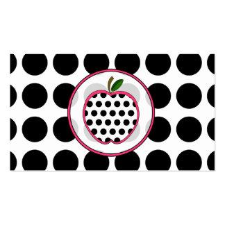 Polka Dot Apple Fashion Teacher Business Card