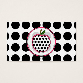 Polka Dot Apple Fashion Teacher Business Card