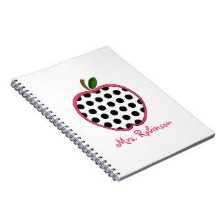 Polka Dot Apple Spiral Notebook For Teachers