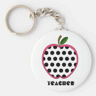 Polka Dot Apple Teacher Basic Round Button Keychain