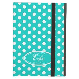 Polka dot aqua teal white pattern ipad air case