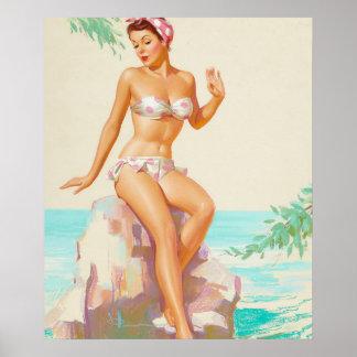 Polka Dot Bikini Pin Up Art Poster