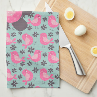 Polka Dot Birds and Flowers Kitchen Towel