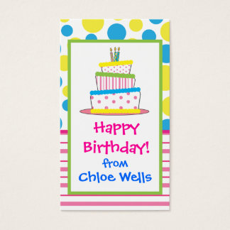 Polka Dot Birthday Cake Gift Calling Cards