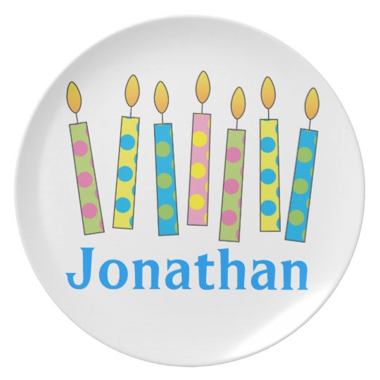 Polka Dot Birthday Candles Personalized Plate