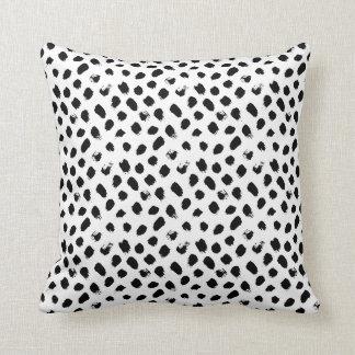 Polka dot black and white pillow