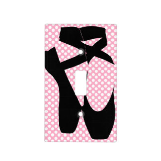 Polka Dot Black Ballet Slippers Light Switch Cover