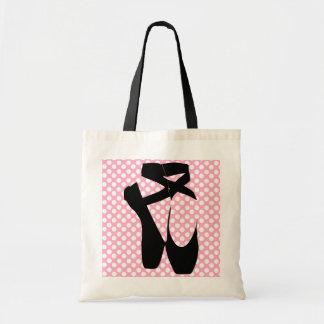 Polka Dot Black Ballet Slippers Tote