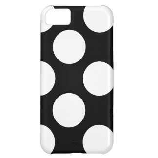 Polka Dot (Black & White) Any Size Customizable Case For iPhone 5C