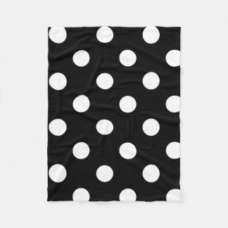 Polka Dot Black & White Fleece Throw Blanket