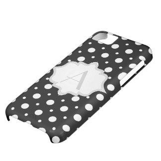 Polka dot black, white monogram girly iPhone 5C covers