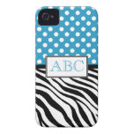 Polka Dot Blue & Zebra Print iPhone 4/4S Case iPhone 4 Case-Mate Cases