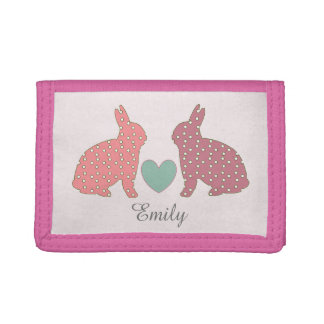 Polka Dot Bunnies Trifold Wallets