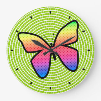 Polka Dot Butterfly by Julie Everhart Large Clock