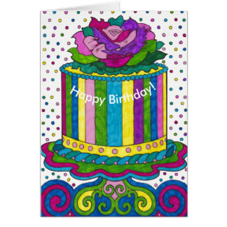 Polka Dot Cake Bright Happy Birthday Card