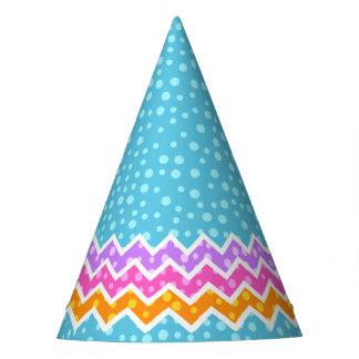 Polka Dot Chevron Blue Party Hat