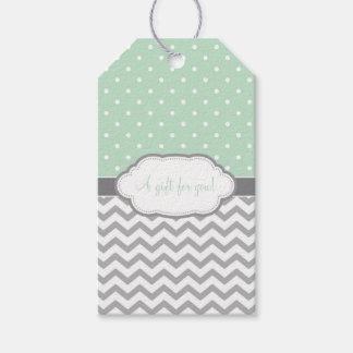Polka Dot Chevron Gift Tags Mint Green Gray White