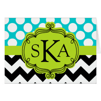 Polka Dot Chevron Monogram Cards